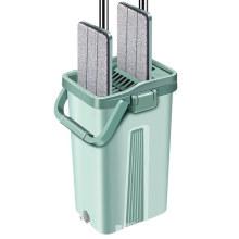 Waketm 360 Microfiber Wash Floor Squeeze Metal Stick Cleaning Magic and Plastic Bucket Flat Mop