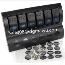 6 Gang Marine Rocker Switch Panel with LED