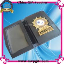 Metal Police Badge with Wallet Holder