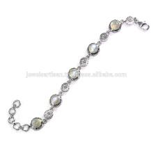 Beautiful Rainbow Moonstone Gemstone 925 Sterling Silver Bracelet Jewelry