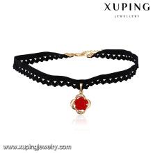 43707 Hot sale popular ladies jewelry multi-stone paved circle shaped pendant choker necklace