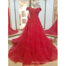 LS45980 Red off shoulder sparkly beads mermaid fancy girl lace latest designs dress