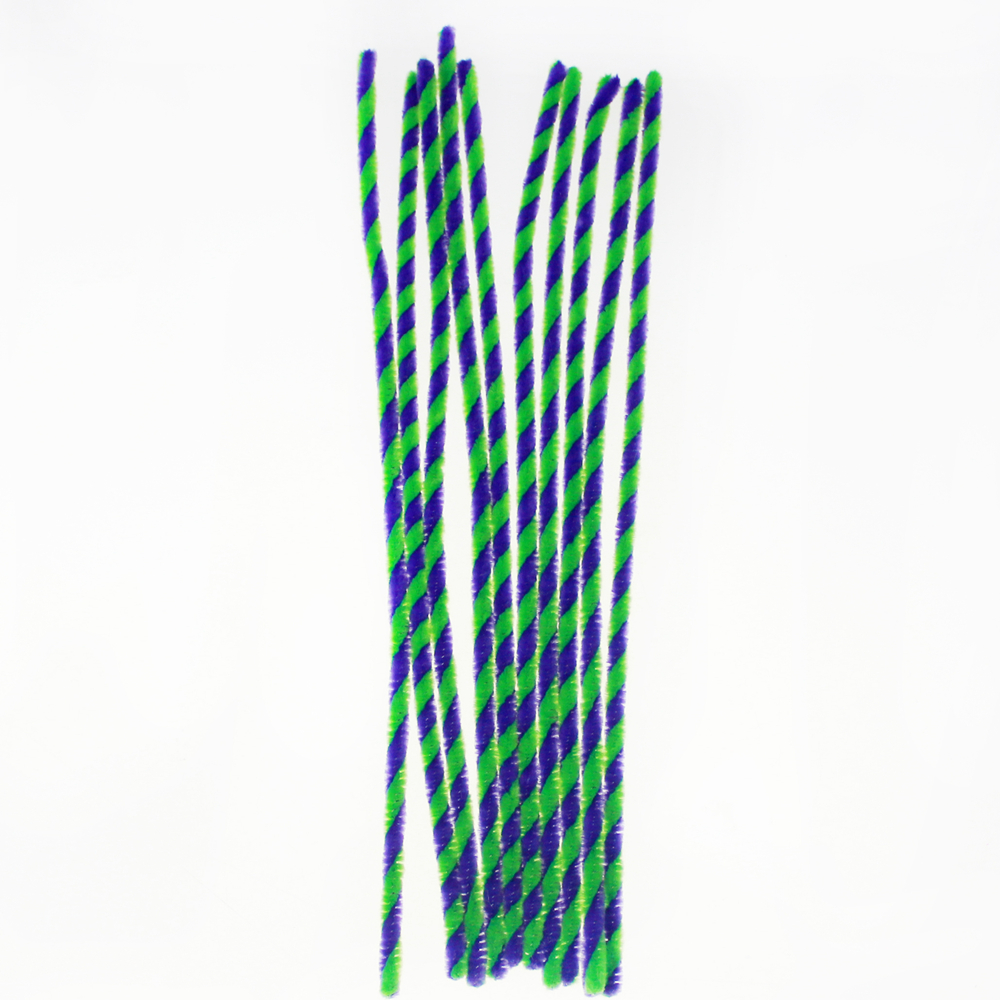 Twist Chenille stems stick kids Diy artisanat de décoration, grenn et noir