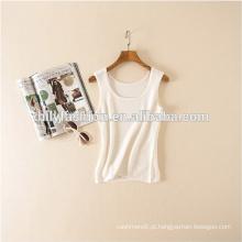 Coleira de caxemira feminina cor sólida O camisola de malha sem mangas