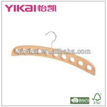 Горячая надувательства естественная деревянная плоская вешалка шарфа с 10 отверстиями