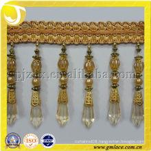 long golden beaded tassel fringe,beads frange