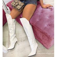 Women Pointy Toe Crocodile PU Upper Shoes Wide Calf High Knee High Heel Long Boots