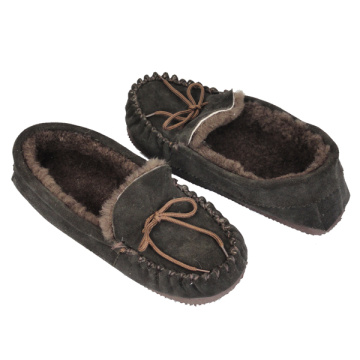 mens sheepskin moccasin genuine shearling black slippers