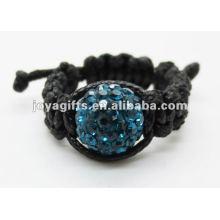 Anillo tejido tejido cristal del shamballa del estilo de la manera del regalo del amor de la manera del anillo del shamballa