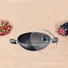 Enamel cast aluminium kitchen equipment non stick wok