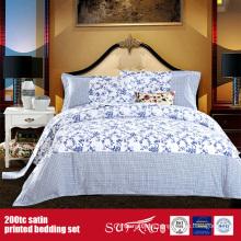 100%Cotton 200TC Satin Printed Bedding Set Bed Linen Supplier