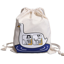 OEM nature eco travel gym rucksack unisex cotton canvas sport drawstring backpack bags