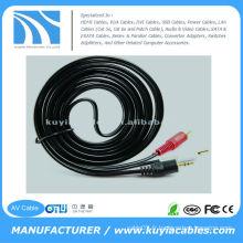 10FT (3M) Câble stéréo 3,5 mm pour prises mâles 2-RCA Câbles AV Câble vidéo audio
