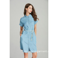 Denim Tencel Kurzarm Gürtel Damen Shirt Kleid