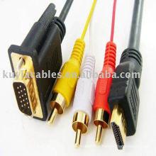 Plaqué or 5 pieds 1.5m hdmi vers vga 3rca av câble hdmi vers vga câble pour votre moniteur ou votre téléviseur