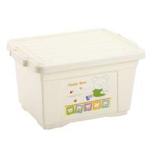 Boîte de rangement en plastique Beige avec verrou (SLSN051)