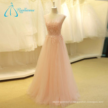 Lace Appliques Sequined Beading Sleeveless Pink Wedding Dress