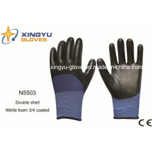 Polyester Double Shell Nitrle Foam Safety Work Gloves (N5503)