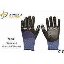 Полиэстер Двойной Оболочкой Nitrle Пены Безопасности Рабочие Перчатки (N5503)