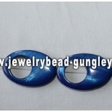 blue oval shape freshwater shell beads