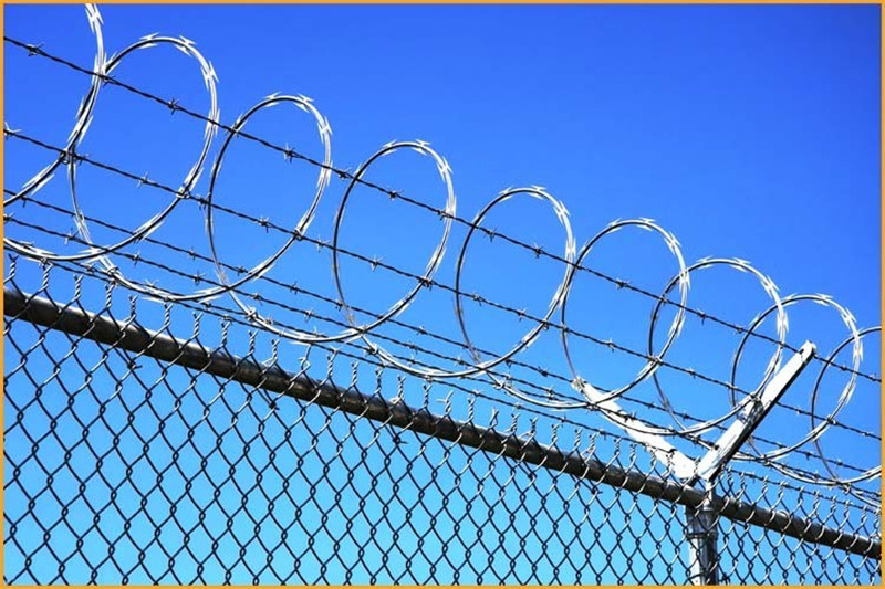 chain link fence with razor wire on top