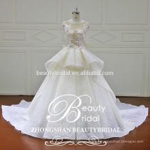 Vestido de boda de lujo del cordón del vestido de bola del diseño más nuevo de la venta caliente de la venta con el rebordear 3D que rebordea el vestido del cordón para las mujeres nupciales