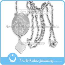 Gros hommes coupe grande Sainte Vierge Marie médaille en acier inoxydable 316 Notre Dame béni Croix collier de chaîne