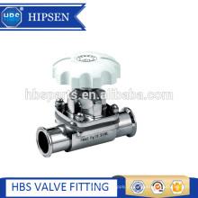 válvula de diafragma de aço inoxidável sanitária manual da braçadeira com EPDM + PTFE