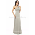 2017 hot sell new long party single shoulder floor/one shoulder touching evening dress in grey color