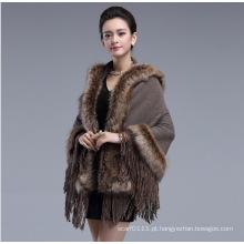 Mulher moda acrílico de malha faux fur inverno franja xaile (yky4458-2)