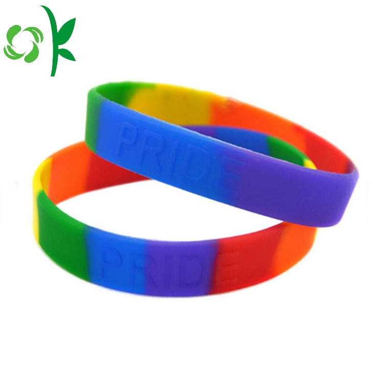 Multicolor Embossed Power Silicone Wristbands