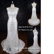Débardeur à bas prix petite queue pleine dentelle sirène robe de mariage nuptiale sweetheart