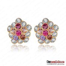 Boucles d'oreille en cristal plaqué or Bijoux personnalisés en vrac (ER0016-C)