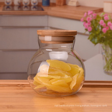 Wholesale  Candy Bottle Hermetic Food Container Glass Jar With Bamboo Lid glass jar with seal