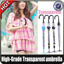 Werbeartikel Mode Gerade Farbe PVC Kunststoff Klar Transparent Regenschirm