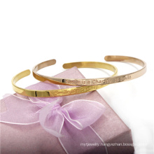 4mm 18k Gold Stainless Steel Bangle Customerized Bracelet Fashion Jewelry