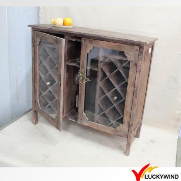 Стеклянные двери Урожай Браун Страна ретро Деревянные шкафы для напитков