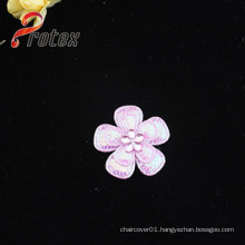 Pink Flower Applique Patches with Acrylic for Garment Decoration
