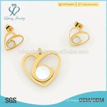Hot novos design coração forma jóias conjuntos, melhor brinco e locket conjuntos de jóias das mulheres por atacado