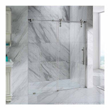 Seawin Chrome Aluminum Walk In Sliding Froasted Clear Glass Door Shower