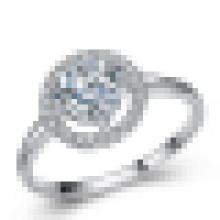 Anillo de compromiso de halo de circonio cúbico de princesa Cut CZ de plata 925