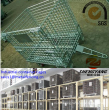 Factory wholesale supermarket show electronic galvanized wire mesh storage baskets 4 layer stackable industrial container cages