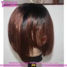 Горячие Продажа девственной бразильский волос #1b/33 двухцветный короткий Боб кружева фронта парик
