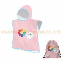 Highly Absorbent Polyester Fast Dry Beach Travel Sports Outdoor Towel, Promotion Hooded Cotton Poncho Beach Swimming Towel for Kids