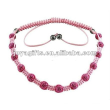 Handmade woven Shamballa crystal balls necklace