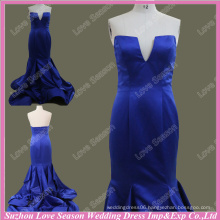 RP0075 Real Image notched neckline patters royal blue ruched satin elegant evening dress 2015 2015 real picture prom dress