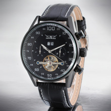 Mens Leather Band Tourbillon Đồng hồ đeo tay Casual