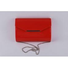 Señoras simple cadena de moda crossbody bolso en shinny material de la PU (ly16002)