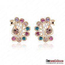 Multicolor CZ Crystal Peacock Stud Earrings pour femme (ER0019-C)