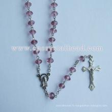 Perle de Rosaire de cristal rose Roundelle catholique